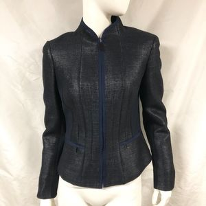 ELIE TAHARI Metallic Fitted Blazer Jacket Zip Back